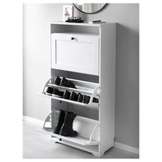 """Like the show storage compartment maybe in a bench style for landing. BRUSALI Shoe cabinet with 3 compartments, white - """" - IKEA Ikea Brusali, Hemnes Shoe Cabinet, Armoire, Plastic Drawers, Small Storage, Classic Furniture, Floor Space, Drawer Fronts, Home Appliances"""