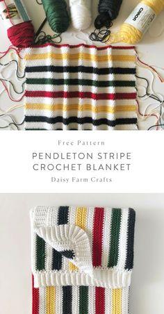 Free Pattern - Pendleton Stripe Crochet Blanket #crochet