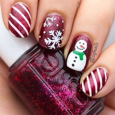 Easy Snowman Nail Art Designs