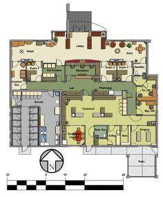 Veterinary floor plan: Pet Paradise Animal Hospital Source by Hospital Floor Plan, Hospital Plans, Pet Hospital, Dog Boarding Kennels, Pet Boarding, Pet Paradise, Shelter Design, Pet Hotel, Hospital Design
