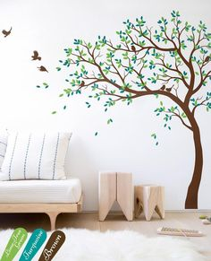 Wall Decal Large Tree decals huge tree decal nursery with birds tree Sticker Wall tattoos Wall mural removable vinyl wall sticker 032 Tree Decal Nursery, Baby Room Wall Decals, Tree Decals, Vinyl Wall Stickers, Wall Mural Decals, Simple Wall Paintings, Wall Painting Decor, Wall Art, Tree Wall Murals