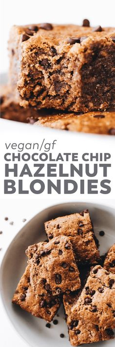 Chocolate Chip Hazelnut Blondies Pin Source by gretchbosse Healthy Vegan Desserts, Vegan Dessert Recipes, Vegan Treats, Gluten Free Desserts, Brownie Recipes, Delicious Desserts, Beef Recipes, Sans Gluten Vegan, Brownies