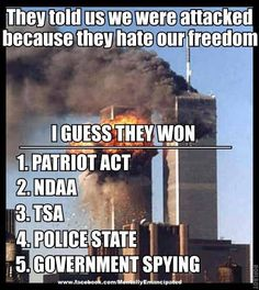 PATRIOT ACT, NDAA, TSA, POLICE STATE, GOVERNMENT SPYING...What freedom??