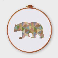 ThuHaDesign Geometric Polygon Bear polygon cross stitch pattern abstract baby animal