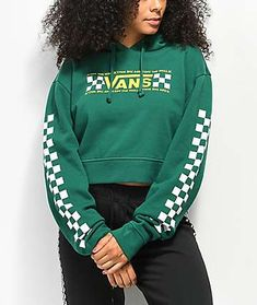 Known for their signature skate style, Vans presents the Checkerboard Bar Green Crop Hoodie. This hooded sweatshirt comes in a forest green colorway and features a Vans Off the Wall logo printed at the front chest along with white checkerboard patterns on Red Hoodie, Cropped Hoodie, Best Streetwear Brands, Hooded Sweatshirts, Hoodies, Cute Sweaters, Vans Checkerboard, Fashion Outfits, Fashion Styles