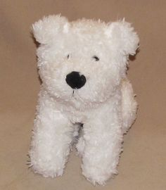 "Animal Adventure White Puppy Dog Black Nose Sitting Plush Stuffed Toy 8"" Fluffy #AnimalAdventure"