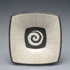 Ceramic white raku fired plate