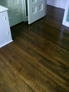 MEDIUM WALNUT STAIN ON RED OAK. I LIKE THIS! NOT TOO RED...NOT TOO DARK