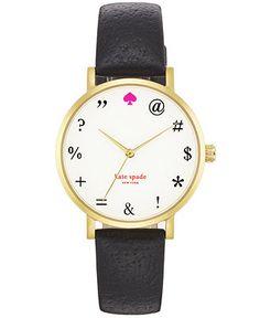 kate spade new york Watch, Women's Metro Black Boarskin Leather Strap 34mm 1YRU0266 - Kate Spade - Jewelry & Watches - Macy's