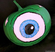 Do your little ones love Monsters Inc.? Help them create their own Mike Wazowski Painted Pumpkin! | AllFreeKidsCrafts.com