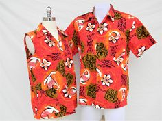 05fd4f75 Vintage His and Hers matching Royal Hawaiian Barkcloth shirts- red and  orange Tiki retro 60's Hawaiian Honeymoon- Womens L- Mens XL
