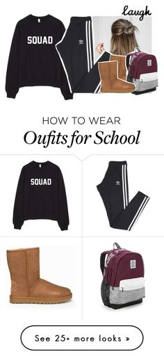 """""""Lazy School Day :D"""" by wonderfully-pleasing on Polyvore featuring adidas, UGG and Victoria's Secret"""