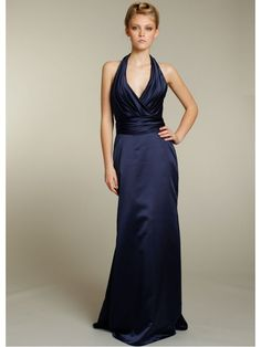 A-line Halter Long Navy Blue Satin Bridesmaid /Prom/Formal/ Wedding Party Dresses Cheap 2301117