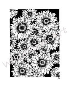 Digital Download Sunflowers Art Print 5x7 8x10 Wall