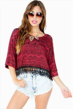 Agaci tribal cropped applique top $21.50
