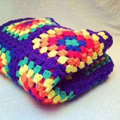 Vintage RAINBOW GRANNY SQUARES Crib Blanket / Bright Crocheted Afghan Sofa Throw / 40 by 55. $36.00, via Etsy.