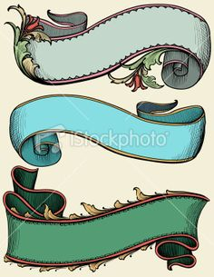 Vintage Color Ribbon Banners with leaves and scrollwork 15 credits