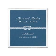 Wedding Napkins | Tied the Knot Monogram Design