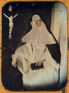 A French Canadian nun; this quarter plate image was made in 1856.