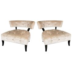 Elegant Pair of Curved Back Klismos Chairs in the Style of William Haines | From a unique collection of antique and modern slipper chairs at https://www.1stdibs.com/furniture/seating/slipper-chairs/