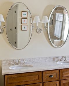 Bathroom Oval Mirrors + Sconces Design, Pictures, Remodel, Decor And Ideas