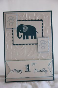 stampin up zoo babies, stampin up memorable moments, spellbinders scalloped rectangles, stampin up ink and cardstock - midnight muse, soft sky, whisper white.