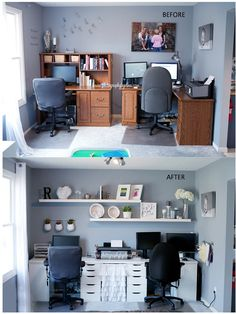 What a difference clean, white office furniture makes!  @Elma Regnerus used the ALEX drawers in her office update.