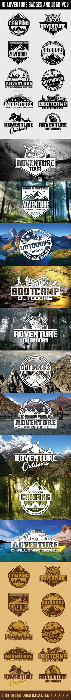 Buy 10 Adventure Badges and Logo by shazidesigns on GraphicRiver. 10 ADVENTURE BADGES AND LOGO Vector illustration. All text is easy editable. vector and editable, scalable . Badge Design, Icon Design, Logo Design, Graphic Design, Landscape Photography Tips, Badge Logo, Photoshop Design, Cool Logo, Logo Inspiration