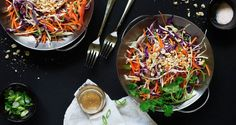 Asian Slaw With Peanut-Ginger Dressing