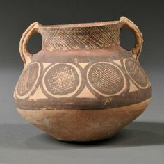 Neolithic-style Pottery Jar, China, compressed globular shape, the neck flanked by two loop handles, painted in red and black with circular decoration, ht. 4 3/4 in.