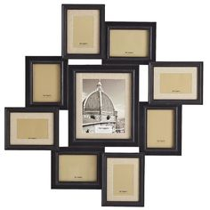 Dark-stained wood and linen mats come together to create a timeless photo display. Perfect for a hallway, gallery or as the focal point of a room, this wonderfully jumbled collage holds nine favorite photos in a range of sizes.