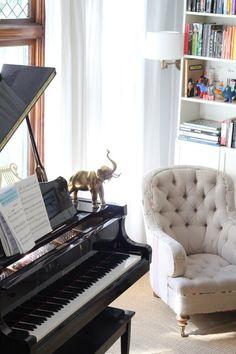 Piano, tuffeted chair, Love, livingroom