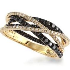 Caviar by Effy Black (1/2 ct. t.w.) and White (1/5 ct. t.w.) Diamond Crossover Ring in 14k Gold