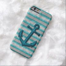 Retro Turquoise Anchor Gray Grunge Stripes Pattern iPhone 6 Case