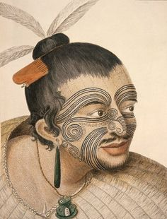 Maori man, known as Rachel and Maygen. 1769 Maori man, known as Rachel and Maygen. 1769 by Sydney Parkinson artist on Captain Cook's voyage to New Zealand in 1769 (Photo by: Universal History Archive/Universal Images Group via Getty Images) James Cook, Ethno Tattoo, Homemade Tattoo Ink, Tattoo Studio, Ta Moko Tattoo, Maya, Zealand Tattoo, Maori People, History Tattoos