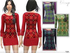 Argyle Sweater Dress by ekinege at TSR • Sims 4 Updates