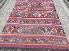 WVintage Traditional Turkish Kilim Rug Wool on Cotton approximately 60 years old, Mut Kilim    The rug comes from Middle of Turkey, Anatolia Region   $800.00