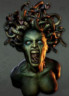 "This pictures depicts the theme ""Retribution for evil"". This picture is of Medusa. Medusa was beautiful young woman whose looks got her a lot of attention growing up. Athena turned her to a hideous monster and anyone who looked at her would turn to stone. She was banished to the ends of the earth with the gorgon sisters. This shows the horrible and eternal punishments people received for acting out to the gods/goddesses."
