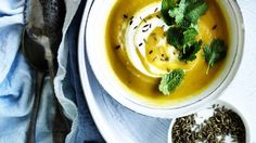 Neil Perry - carrot soup with coriander yoghurt. Spice up a traditional winter soup with some exotic Middle Eastern flavours.