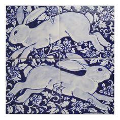Shop Blue & White Rabbit HareTile Art Mural Floral Faux Canvas Print created by BonneIdeeArt. White Art, Blue And White, White Decor, Rabbit Jumping, Ceramic Tile Art, Canvas Prints, Art Prints, Block Prints, Canvas Art