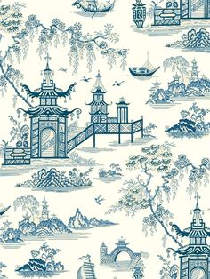 Total Wallcovering had a large selection of toile and oriental wallpaper designs that are perfect complements to a classic or Asian themed room. Oriental Wallpaper, Chinese Wallpaper, Chinoiserie Wallpaper, I Wallpaper, Blue Willow China, Blue And White China, Blue China, Chinese Background, Willow Pattern