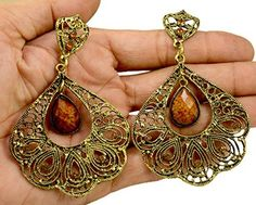 A Pair of Brass Metal Floral Design Hippie Danglers Fashion Earrings for Women's Krishna Mart India http://www.amazon.com/dp/B00UQBUJB8/ref=cm_sw_r_pi_dp_jW.xwb0R3EEY9