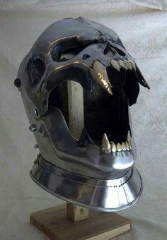 Demonic faced armor helmet