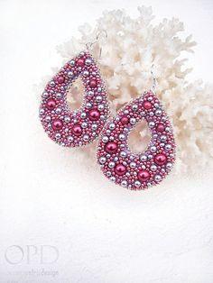 Bead embroidery earrings Drop earrings Silver Pink by OPGDesign