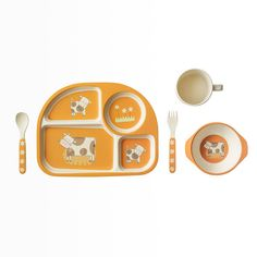 Bamboo Kids 5 Piece Orange Cow Set - Bamboo Studio || Bright, adorable kids dinner set. #EcoFriendly, #biodegradable, beautiful and durable. The process begins by taking the fiber of bamboo plants five years or older and grinding it into a fine powder. Utilizing a patented process, we mold this material into durable tableware. Each piece of our Bambooware is #FDAapproved, food safe, and dishwasher safe. #FairTrade and #FairWage. Find more great products at @philorgs.