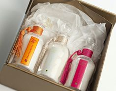 Cofre con 3 frascos de Sales de baño 125gr. Mandarina, Jazmín y Rosa.