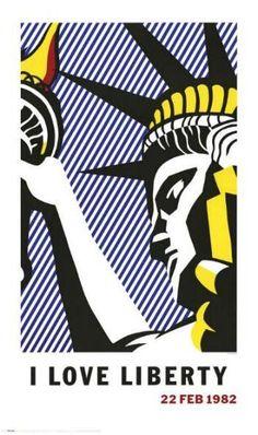 Liberty by Roy Lichtenstein. Artist Roy Fox Lichtenstein was an American pop artist. During the along with Andy Warhol, Jasper Johns, and James Rosenquist among others, he became a leading figure in the new art movement. Roy Lichtenstein Pop Art, Jasper Johns, Robert Rauschenberg, Industrial Paintings, Culture Pop, Arte Popular, Art Design, Art Plastique, Oeuvre D'art