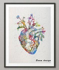 Human Heart Watercolor