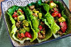 Turkey Lettuce Wrap Tacos with Chiles, Cumin, Cilantro, Lime and Tomato-Avocado Salsa are a perfect #LowCarb meal that won't leave you feeling deprived! [from KalynsKitchen.com]