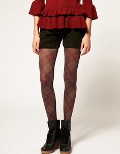 Burlington Tartan Print Tights  $40.00        Opaque tights by Burlington. Featuring, an all over contrast tartan print, reinforced toe and heel, in a comfortable stretch finish.